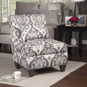 Offer for HomePop Blue Slate Large Accent Chair (Gray and light blue large damask)