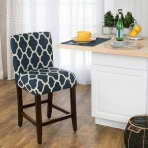Offer for HomePop 24-inch Counter Height Geo Brights Navy Blue Upholstered Barstool (Dark Blue)