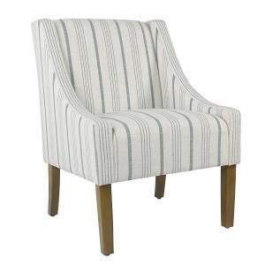 Offer for HomePop Modern Swoop Accent Chair - Blue Calypso Stripe (Blue)
