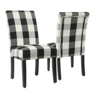 Offer for HomePop Parsons Dining Chair - Black Plaid (set of 2) (Black)