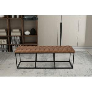 Offer for HomePop Draper Large Decorative Bench with Light Brown Faux Leather