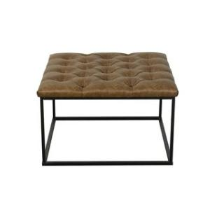 Offer for HomePop Draper Ottoman with Button Tufting - Light Brown Faux Leather (Brown)