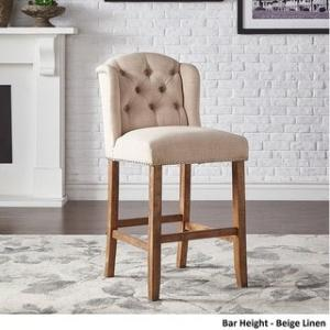 Offer for The Gray Barn Larken Tufted Linen Upholstered Stool (Set of 2) (Bar Height - Beige Linen)
