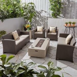 Surprising Comet Outdoor 8 Seater Wicker Chat Set With Fire Pit And Tank Holder By Christopher Knight Home Brown Light Gray Mixed Beige Cushion Creativecarmelina Interior Chair Design Creativecarmelinacom
